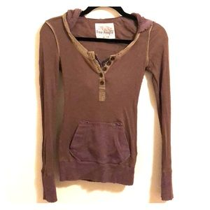 Free people distressed long sleeve shirt with hood